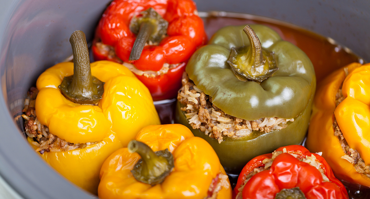 Chickpea, Feta, and Herb-Stuffed Peppers