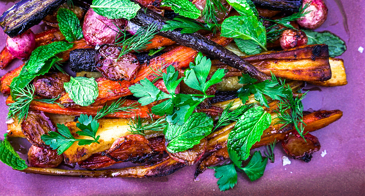 Horseradish and Honey-Butter Roasted Root Vegetables